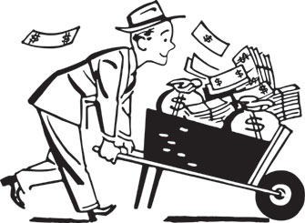 Stock Market for Beginners: Wheelbarrow full of cash